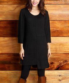 Look at this #zulilyfind! Black Patchwork Scoop Neck Dress #zulilyfinds