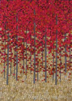 Red Maples by Terri Borges Maplestone Gallery Contemporary Mosaic Art .awesome & easy to DIY . I'm really beginning to like & want to do my own Mosiacs! Mosaic Tile Art, Mosaic Crafts, Mosaic Projects, Mosaic Glass, Fused Glass, Stained Glass, Glass Art, Mosaic Designs, Mosaic Patterns