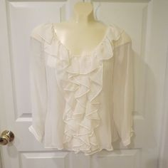 50% OFF EVERYTHING NOW!!  LOWW PRICES!  Sheer Cream Color Ruffle Front Blouse w/ Cami Measurements Listed VERY PRETTY!! #NoTag #BlousewithCami #Any