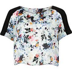 Blue floral print cropped t-shirt - crop tops / bralets / bandeau tops - tops - women