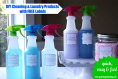 DIY Cleaning Supplies: Recipes to make your own bathroom cleaner, kitchen cleaner, laundry soap and more.PLUS free printable labels! Homemade Cleaning Supplies, Diy Home Cleaning, Cleaning Recipes, Green Cleaning, Spring Cleaning, Cleaning Hacks, Diy Cleaners, Cleaners Homemade, Household Cleaners