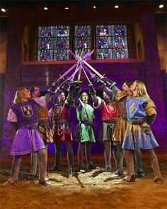 The theme of kingship is represented in this image. The 8 kings represent the power created when their swords are together. Kingship is one of the major themes in Macbeth, as shown in this image.