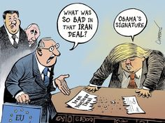 Trump Presidency in a nutshell : PoliticalHumor Political Satire, Political Cartoons, Donald Trump, Trump Cartoons, Funny Cartoons, Nuclear Deal, Us Politics, Funny Politics, Presidents