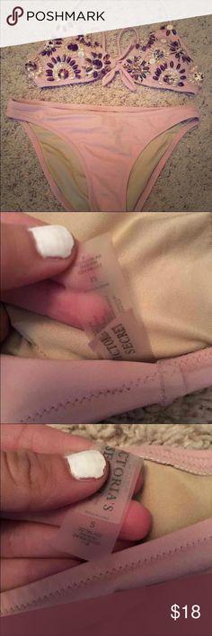 VS bikini! Pink Victoria's Secret bikini! So cute! Top is a M and bottoms are a S! Victoria's Secret Swim Bikinis
