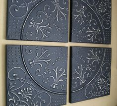 ALL 4 FRAMED Antique Tin Ceiling Tiles. Circa by DriveInService