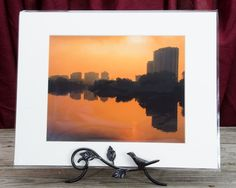 "Ready to Frame 8"" x 10"" Landscape Photograph Wilmington at Sunrise in a 11"" x 14"" Mat Board and Backer *Stand is not included"