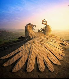The Jatayu Earth center in kerala India. World's largest bird sculpture. One Word Art, Bird Statues, Pacific Crest Trail, Kerala India, Bird Sculpture, Get Outdoors, Best Places To Travel, Outdoor Recreation, Gods And Goddesses