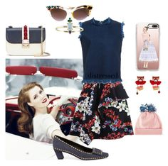 """""""disdressed preppy girl"""" by roxariaone ❤ liked on Polyvore featuring MSGM, Casetify, Roger Vivier, Marques'Almeida, Les Néréides, Fendi, Valentino, Federica Moretti, denim and polyvorecontest"""