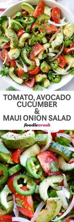 This simple tomato, cucumber, and avocado salad gets a spicy Mexican-flavor kick from jalapeños and a fresh lime and chile dressing that makes it a terrific side dish for brunch or any meal! Vegetarian Recipes, Cooking Recipes, Healthy Recipes, Healthy Salads, Healthy Eating, Healthy Lunches, Onion Salad, Summer Salads, Fresh Lime