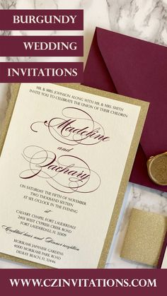 Burgundy and Gold Glitter Invitation! This color match is a classic and is popular among 2021 brides! Special touches like the gold glitter and Burgundy accent in addition to the wax seal make this set unique! Burgandy wedding, marsala wedding, wine color wedding Burgundy Wedding Invitations, Glitter Invitations, Unique Invitations, Invitation Envelopes, Printable Wedding Invitations, Invitation Design, Wedding Stationery, Gold Glitter Paper, Gold Glitter Wedding