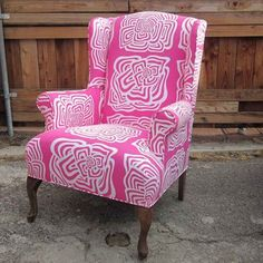 Wingback Chair Pink design inspiration on Fab. Decor, Wingback Chair, Chair, Furniture, Painted Chairs, Pink Chair, Chair Makeover, Home Decor, Pink Furniture