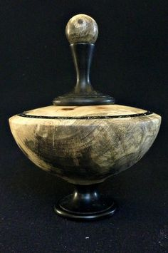 LV-324  Buckeye Burl & Indian Ebony Wood Turned Lidded Vase, Hollow Form, Wood Urn--RARE BEAUTY