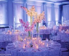 Love the uplighting, the flowers, and of course, our acrylic tables and chiavari chairs! Walled Lake, Tiffany Chair, Clear Chairs, Acrylic Table, Chiavari Chairs, Centerpieces, Table Decorations, 90th Birthday, Wedding Chairs