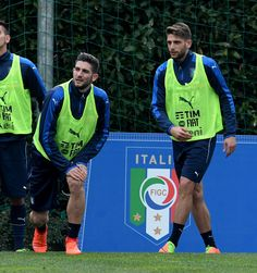 Roberto Gagliardini (L) and Domenico Berardi of Italy look on during the training session at the club's training ground at Coverciano on February 22, 2017 in Florence, Italy.