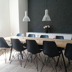 We love the contrast created by the Nordlux Emition pendants against the Black wall.   #lights #lighting #lightingdesign #diningroom #diningtable