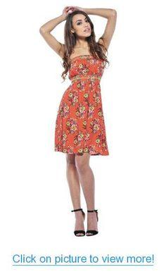 AX Paris Women's Floral Elasticated Strapless Coral Dress #AX #Paris #Womens #Floral #Elasticated #Strapless #Coral #Dress