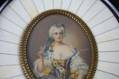 Hand Painted SIGNED  Miniature Portrait Luisa Di Francia countess Parma Italy  #Miniature