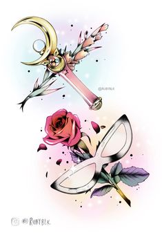 My Sailor Moon tattoo style fanart! Usagi's Moon Rod with Gladiolus flower for strength of character, honour, and conviction. Matching tuxedo mask and rose. Sailor Moon Tattoos, Sailor Moons, Sailor Moon Crystal, Cristal Sailor Moon, Sailor Moon Wands, Arte Sailor Moon, Sailor Moon Usagi, Sailor Jupiter, Sailor Venus