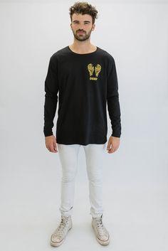 DEEP NO ANGEL Oversize Long Sleeve T-Shirt - Black with Gold Print