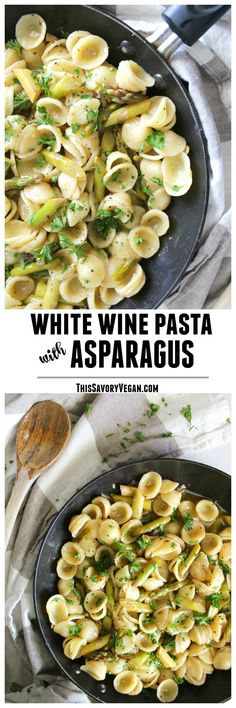 This White Wine Pasta with Asparagus combines a buttery sauce with warm pasta and fresh asparagus | ThisSavoryVegan.com