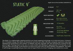 Amazon.com : Klymit Static V Lightweight Sleeping Pad, Green/Char Black : Camping Air Mattresses : Sports & Outdoors