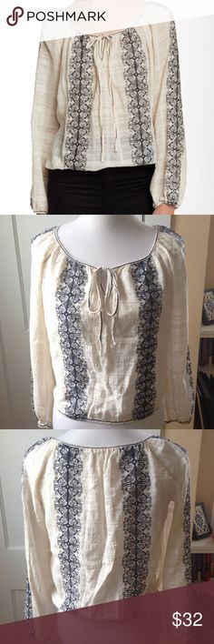 MAX STUDIO Embroidered Gauze Peasant Blouse NWOT This semi-sheer, cream-colored boho peasant top is styled with navy blue embroidered detailing and a front tie keyhole at the split neck, while elastic at the cuffs and hem secured the silhouette. Long sleeves. 100% cotton. New without tags, never worn and in excellent condition! Max Studio Tops Blouses