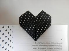 Marca página coração 1 - Origami em tecido - Orinuno