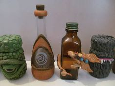 Dragons and potions bottles - POTTERY, CERAMICS, POLYMER CLAY