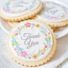 Floral Wreath Thank You Wafer Paper  $5.00 http://www.fancyflours.com/product/Floral-Wreath-Thank-You-Wafer-Paper/s