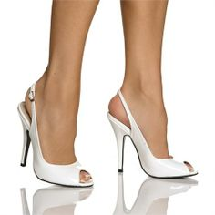 Fancy White Patent Slingback Pump