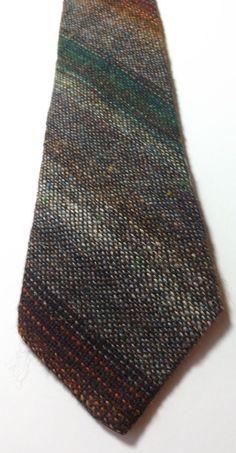 VINTAGE 100% WOOL TWEED NECK TIE by AFONWEN MILL Grey, Green Multi FREE P&P #AfonwenWoollenMill #NeckTie