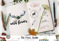 Floral Skull Watercolor Antler Logo Design Pay As You Go Custom Logo Design Website Logo Blog Logo Business Branding Logo Boutique Logo Deer