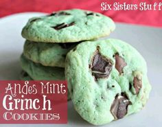 1 pouch (1 lb 1.5 oz) Betty Crocker® sugar cookie mix 1/2 cup butter or margarine, softened 1/4 to 1/2 teaspoon mint extract 6 to 8 drops green food color 1 egg 1 package Andes Mints 1 cup semisweet chocolate chips
