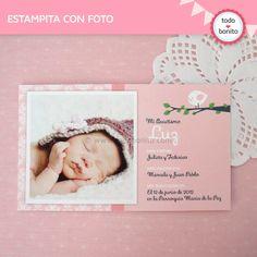 Pajarito rosa: estampita con foto