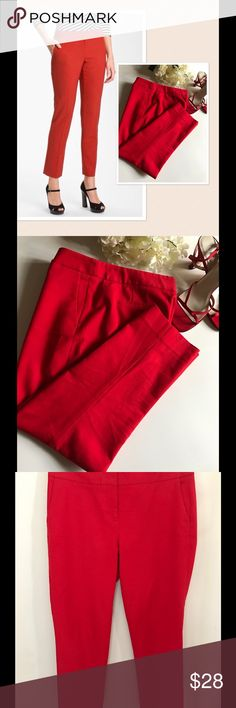 VINCE CAMUTO Red Cotton Ankle Pants VINCE CAMATO Red Ankle Pants. Excellent condition. 98% cotton, 2% spandex. Approx. measurements: inseam 25 inches, waist 32 inches, 9 inch rise. 2 side angle pockets, 2 flat back pockets. Leg width is 9 inches at the thigh & tapers to 6 inches at bottom leg opening. Clean, non-smoking home. All items are laundered before shipping unless new with tags & I ship same or next day. Thank you for the interest!  Model photo & logo courtesy of vince camuto.com…