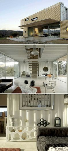 Love the open floor plan in the downstairs living space, lets in lots of light.  Manifesto container house Madrid