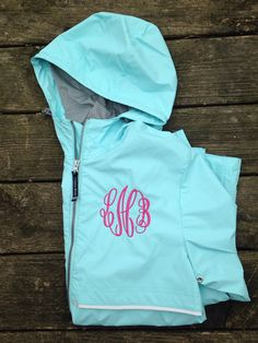 Monogrammed Full Zip Rain Jacket Personalized by ElsBriarPatch