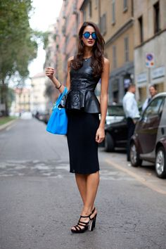 Street Style: A leather peplum lends edge to the feminine trend