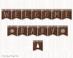 Snowflakes Baby Shower Banner, Welcome Baby, Winter Banner, Neutral Banner - Printable - INSTANT DOWNLOAD - Digital file (14 Flags) - BSU023