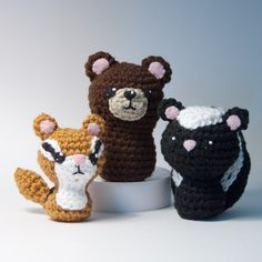 CraftyAlien® - Backyard Critters 2 Crochet Amigurumi Pattern: Skunk, Chipmunk, Bear, $6.00