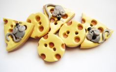Button Mice and Big Cheese handmade polymer clay by digitsdesigns