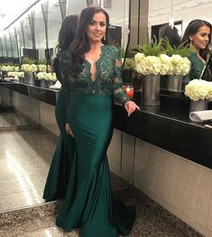 2020 Dark Green Illusion Long Sleeves Evening Dresses Sexy V Neck Lace Mermaid Prom Dress Long Party Gowns Women Gala Dress Mermaid Prom Dresses Lace, Prom Dresses Uk, Prom Dresses Long With Sleeves, Lace Dress, Lace Mermaid, Dress Prom, Dress Long, Green Formal Dresses, Formal Dresses For Women
