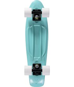 Conveniently cruise the streets with a portable mint plastic injection molded deck with a molded waffle pattern top for grip and a small kicktail for added control.