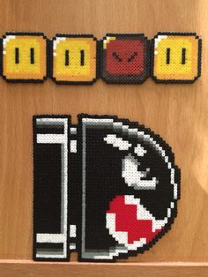 Bullet and blocks for Mario's Screen Perler Hama Beads