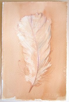Feathers illustration/ Light camel painting of feather/ Small watercolors 7,5 by 11/ Home decor/ Watercolors feathers/ Kitchen decor ooak
