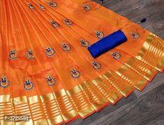 Latest Attractive Art Silk Saree with Blouse piece South Indian Sarees, Indian Sarees Online, Simple Sarees, Trendy Sarees, Satin Saree, Soft Silk Sarees, Online Shopping Sarees, Online Fashion Stores, New Fashion Saree