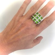 Fabulous Piece Features Glittering Green Stones In a Glistening Pave Setting Just Gorgeous From Every Angle Would Pair Beautifully with Many Items in my Shop, Please Have a Look Through The Various Sections!  Size 7 Measures Approx 7/8H All Stones CZ Set By Hand In the Tradition Of