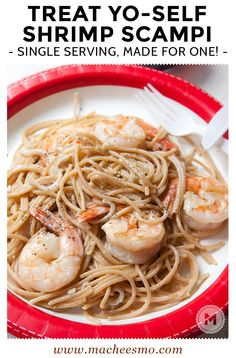 Shrimp Scampi for One! Just because you are eating solo or in a hurry, doesn't mean you can't class it up! Here's my single pot, single serving shrimp scampi recipe!