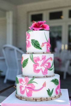 Tropical-Bridal-Shower-Cake