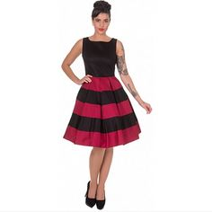 ROBE DOLLY AND DOTTY Anna Stripe Retro Rockabilly Swing Dress in Black/Burgundy, Robes - GrungeBoutik